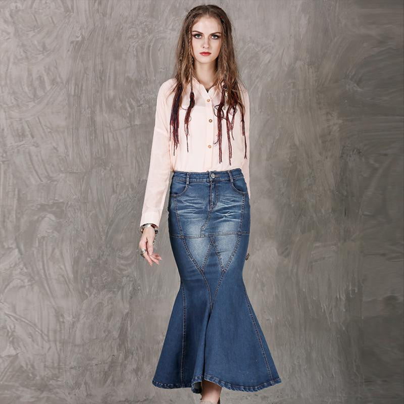 Washed Denim Long Elegant Mermaid Skirt - Ashlays - 2