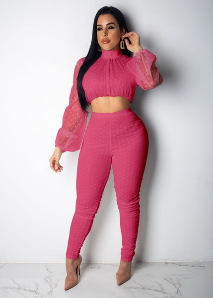 Casual Turtleneck Mesh Two Piece Set