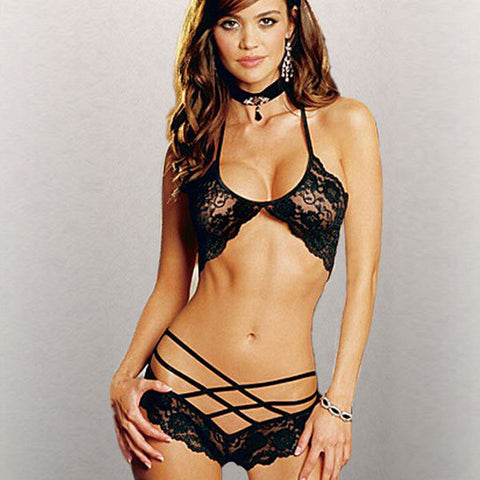Lace G-string Bra Set - Ashlays - 1