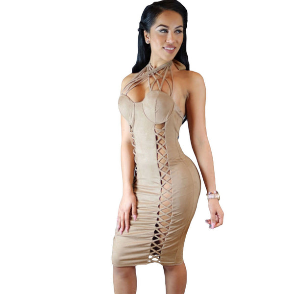 Nude Suede Lace Up Cross Front Halter Dress - Ashlays - 1