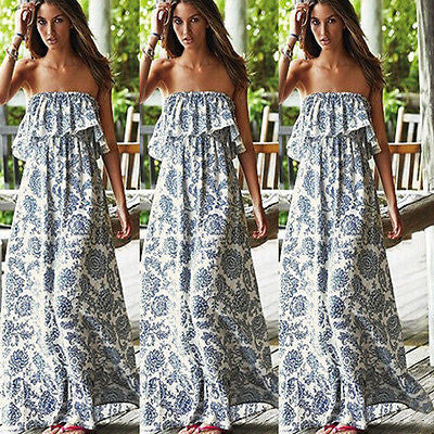 Strapless Boho Long Maxi Dress - Ashlays