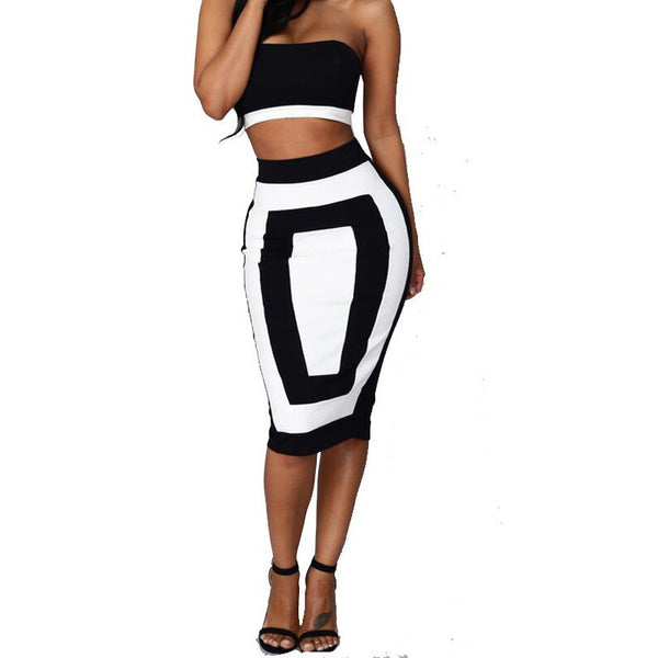 Strapless Crop Top and Midi Bodycon Skirt Set - Ashlays - 1