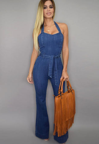 Sleeveless Halter Wide Leg Denim Jumpsuit - Ashlays - 1