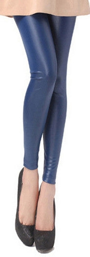 Elastic Waist Leather Leggings - Ashlays - 4