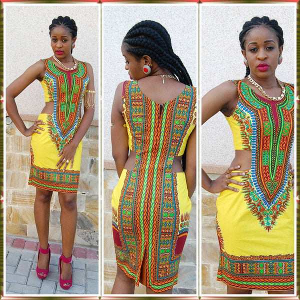 Dashiki Cut out Dress - Ashlays - 1