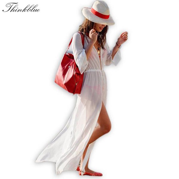 Women White Chiffon Long Bikini Cover Up - Ashlays - 1