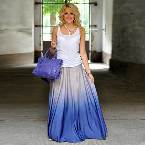 Gradient Pleated High Waist Long Maxi Skirt - Ashlays - 1