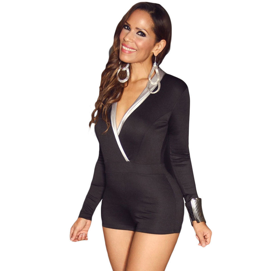 Black V-neck Sexy Long Sleeve Short Romper - Ashlays