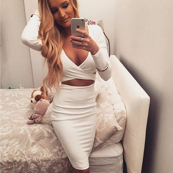 V-neck Bodycon Dress - Ashlays - 1