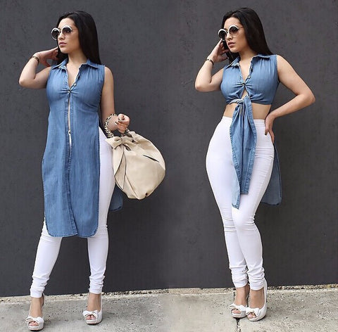 Casual Sexy Sleeveless Denim Shirt Dress - Ashlays - 1