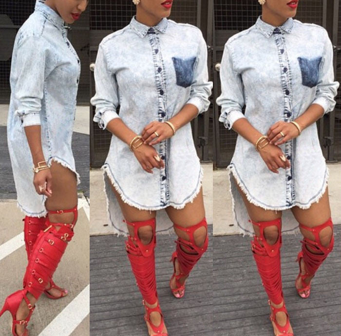 Denim Jean Shirt Dress - Ashlays