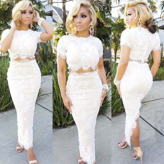 Lace Embroidery 2 Piece Set - Ashlays - 2