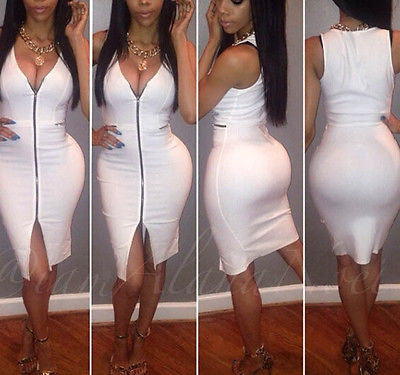 Sexy Bandage Bodycon Dress White - Ashlays