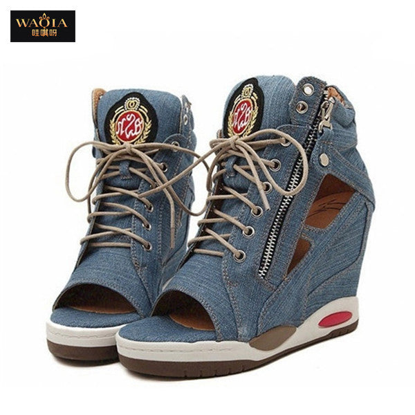 2015 Hot New Arrival European Style Summer Denim high fish mouth inside wedge leisure sports sandals high heels women's shoes QA - Ashlays - 1