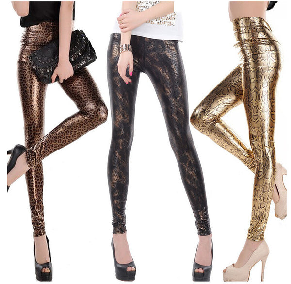 Shiny Printed Slim Fit Base Pants - Ashlays - 1