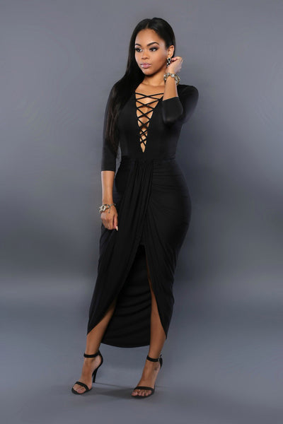 Sexy Bandage Long Black Sundress - Ashlays - 2