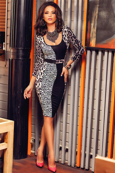 Leopard Patchwork Midi Dress - Ashlays - 2