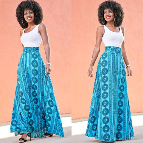 African Blue Print Maxi Skirt - Ashlays - 1