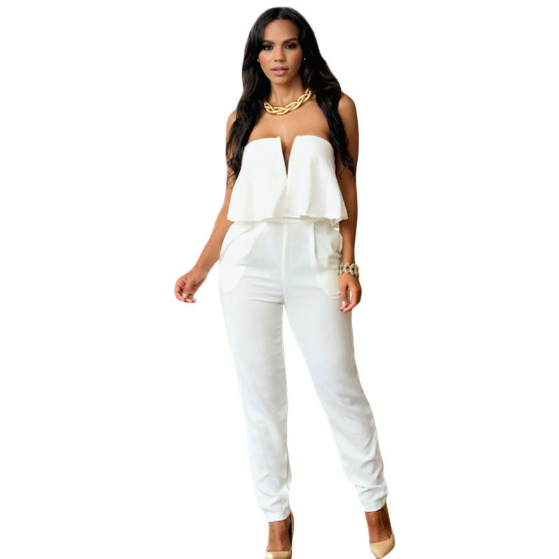 White Ruffle Strapless Jumpsuit - Ashlays