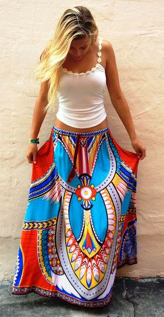 African Style Floral Print Maxi Long Skirt - Ashlays - 4