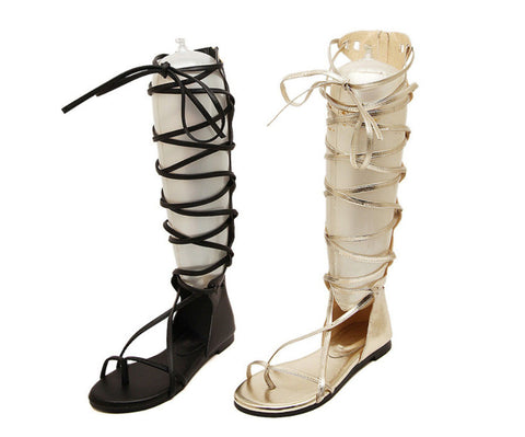 Lace-up Knee High Sandals - Ashlays - 1