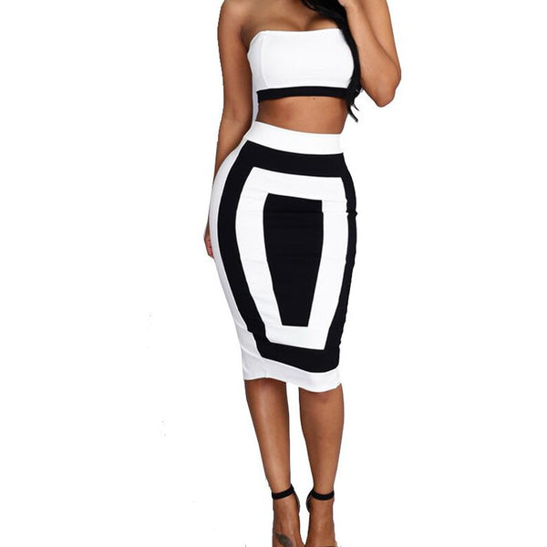 Strapless Crop Top and Midi Bodycon Skirt Set - Ashlays - 2