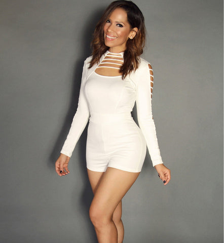 Hollow Out White Bodycon Jumpsuit - Ashlays