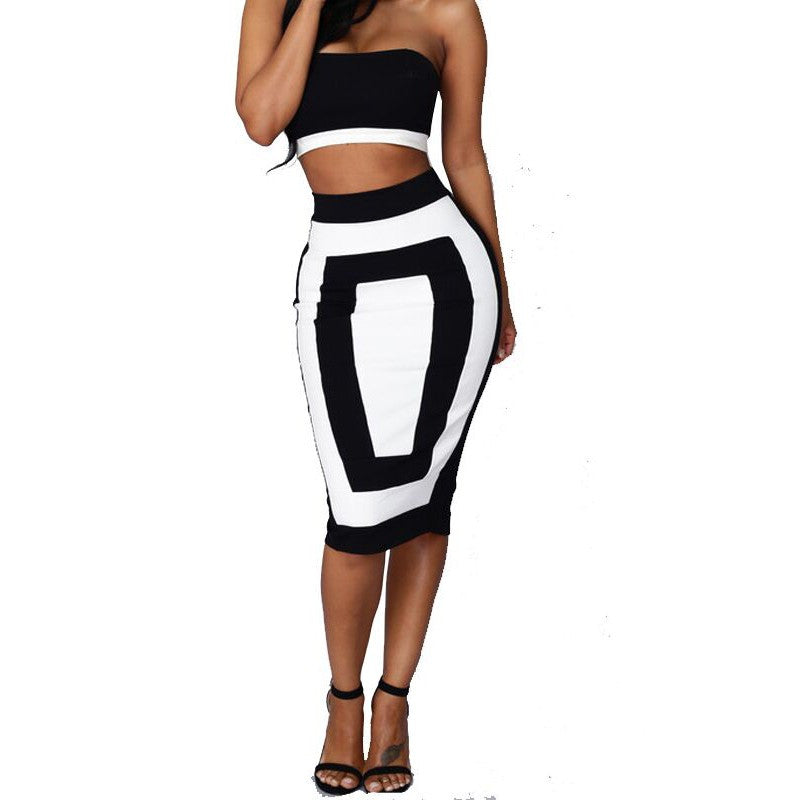 Strapless Crop Top and Midi Bodycon Skirt Set - Ashlays - 3