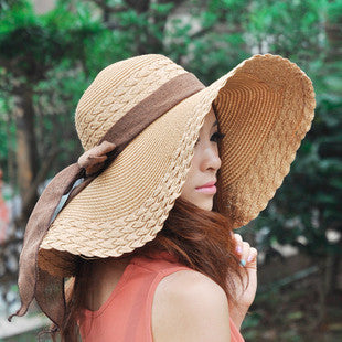 Wide Large Brim Floppy Straw Hat - Ashlays - 1