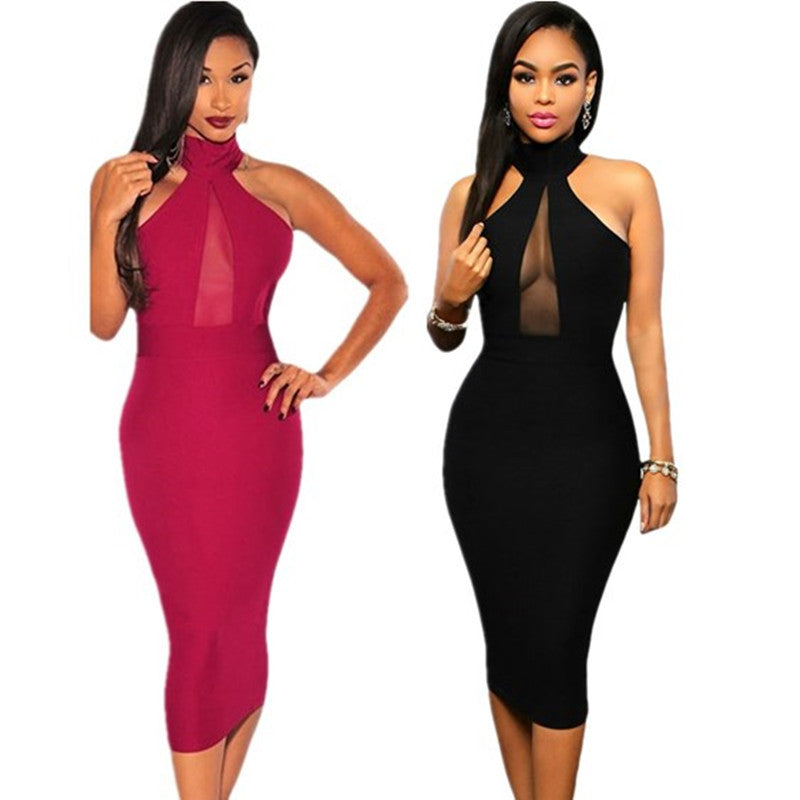 High Neck Bodycon Casual Sleeveless Dress - Ashlays