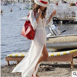 Women White Chiffon Long Bikini Cover Up - Ashlays - 2