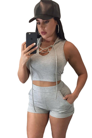 Black Grey Hooded Crop Top And Shorts - Ashlays - 1