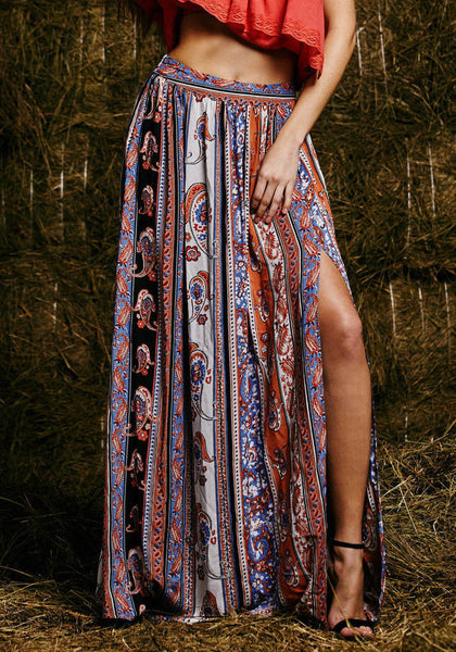 Bohemian Floral Print Fitted Long Skirt - Ashlays - 2