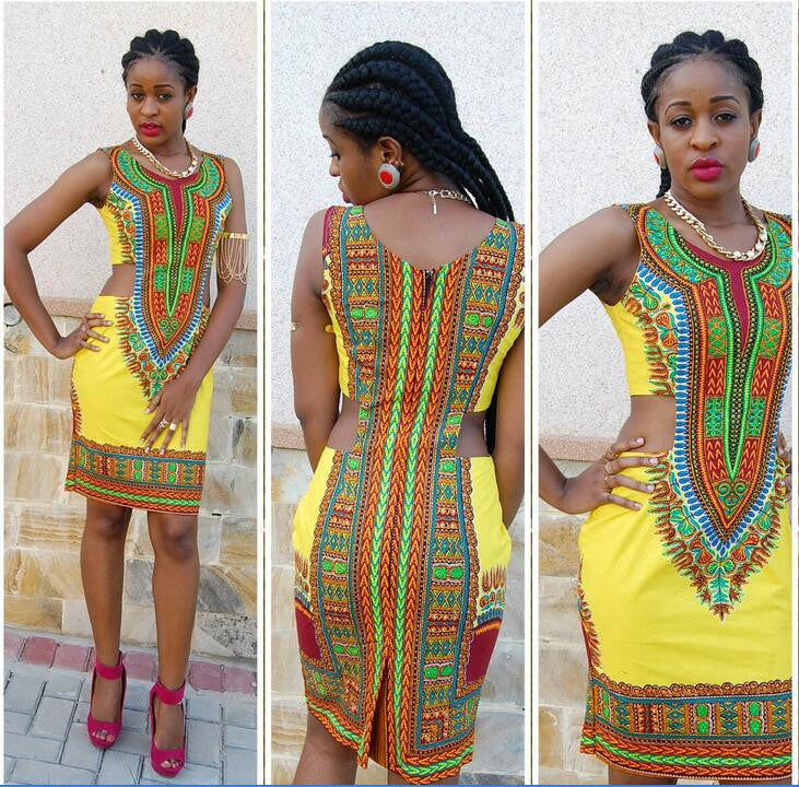Dashiki Cut out Dress - Ashlays - 2