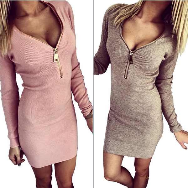 V-neck Zipper Closure Dress - Ashlays - 1