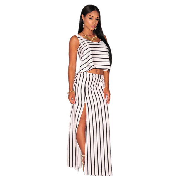 Off White Cropped Maxi Skirt Set - Ashlays - 2