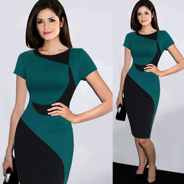Short Sleeve Pencil Dress - Ashlays - 2