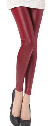 Elastic Waist Leather Leggings - Ashlays - 3