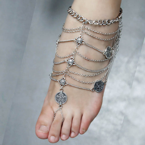 Tassel Foot Harness Barefoot Sandal - Ashlays