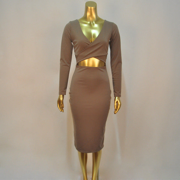 V-neck Bodycon Dress - Ashlays - 5