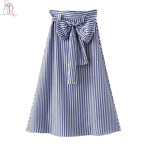 Blue Striped Bowknot High Waist Midi Skater Skirt - Ashlays - 1