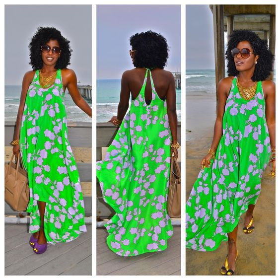 Sleeveless Sexy Green Print Maxi Long Dress - Ashlays