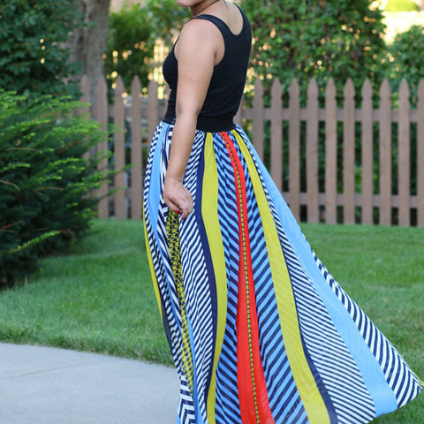 Floor-length Loose Striped Bohemian Style Dress - Ashlays - 1