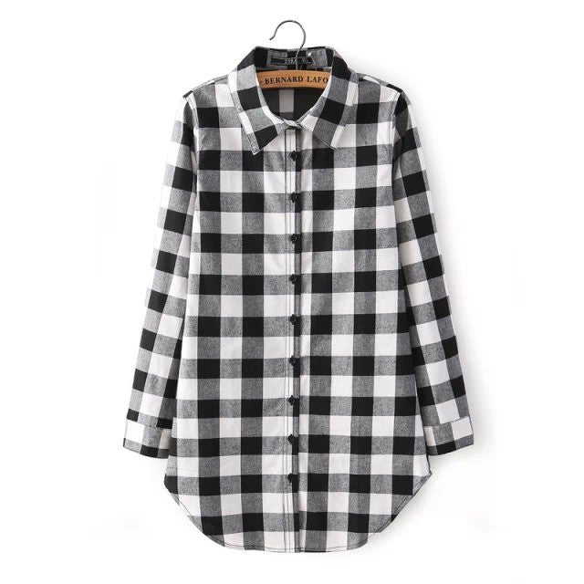Plaid Loose Blouse - Ashlays - 2
