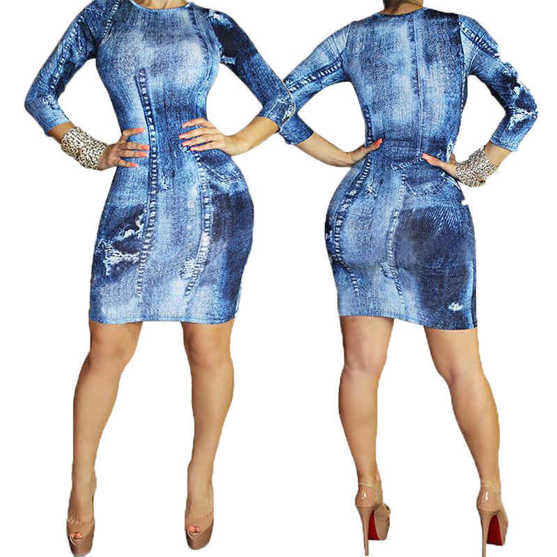 Denim Long Sleeve Dress - Ashlays