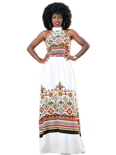 Turtleneck African Dashiki Maxi Dress - Ashlays