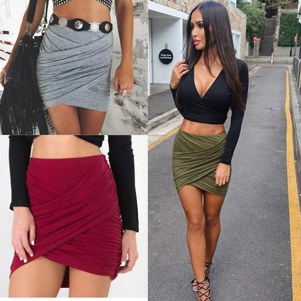 Cross Fold Pencil Skirts - Ashlays - 1