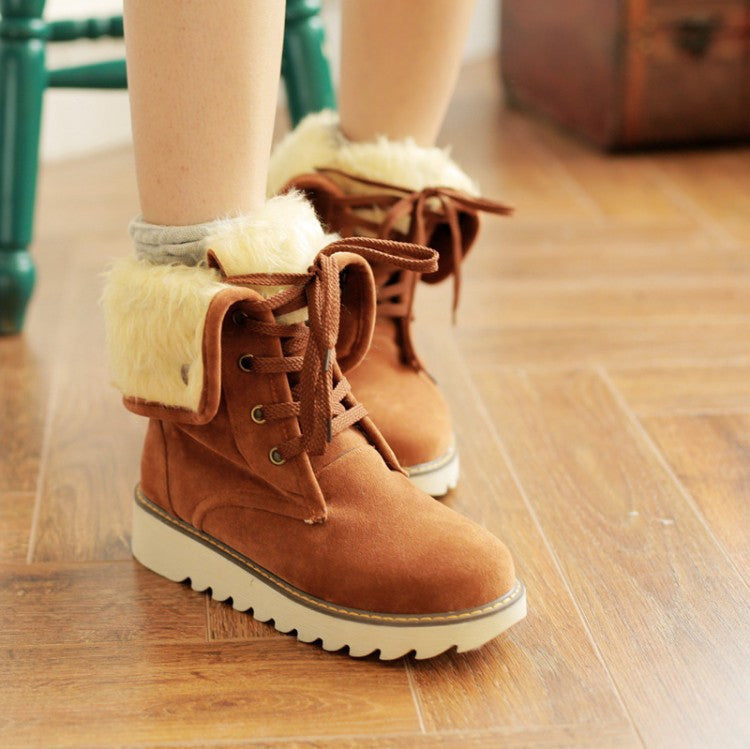 Winter women boots ankle boots for women shoes plush solid snow boots 2015 - Ashlays - 4