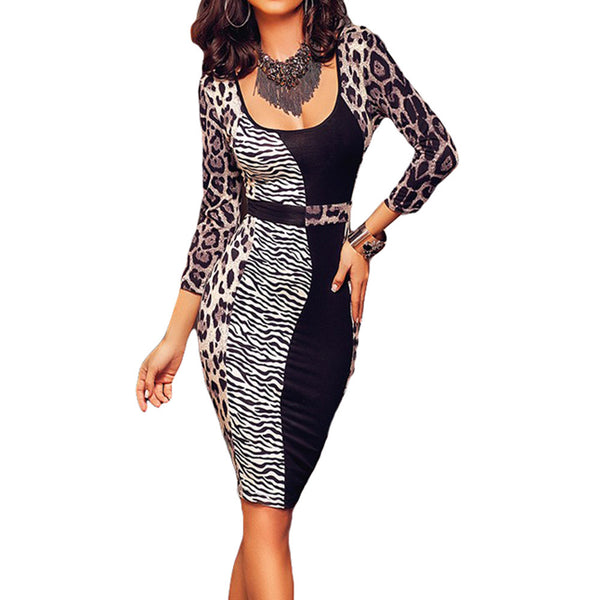Leopard Patchwork Midi Dress - Ashlays - 1
