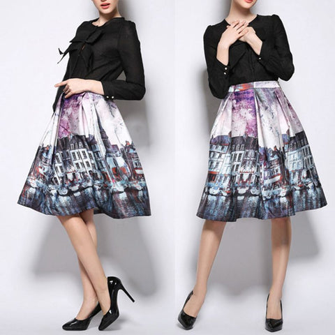 Vintage Painting Pattern Skirt - Ashlays - 1